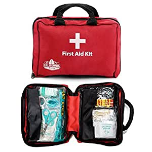 California Basics 115 Piece All-Purpose First Aid Kit for Emergency at Home, Workplace, Car, Outdoors & Travel, Earthquake Survival Medical Kit for Camping, Hiking, EMT Approved, Red