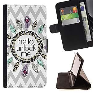 """For Motorola Moto E ( 2nd Generation ),S-type Patrón Hola Indian Feather Chevron"""" - Dibujo PU billetera de cuero Funda Case Caso de la piel de la bolsa protectora"""