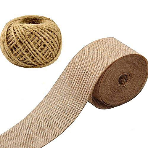VGoodall Burlap Ribbon,Craft Linen Ribbon Jute Twine Packing String Linen Yards Ribbon for Photos Crafts Wraping Gifts Party, Wedding, Easter Holiday Decoration