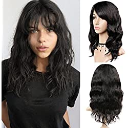 "WIGNEE 100% Virgin Human Hair Natural Wave Wigs with Bangs Brazilian Human Hair Wave Wigs Natural Black Color (16"")"