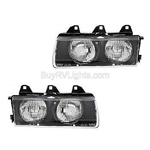 Fleetwood American Tradition 2004-2007 RV Motorhome Pair (Left & Right) Replacement Headlights Head Lights Front Lamps with Bulb