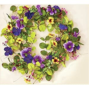 Worth Imports 22 Inch Mixed Pansy Wreath, Purple 6