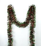 Northlight Festive Shiny Christmas Tinsel Garland Unlit-6 Ply, 50', Red/Green