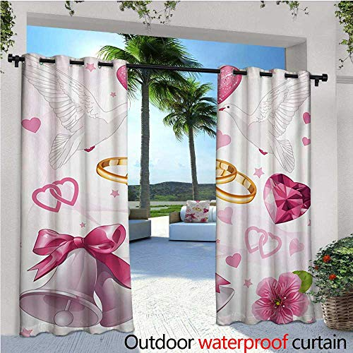 Wedding Belle Invitations - homehot Wedding Balcony Curtains Wedding Themed Artwork Invitation Announcement Hearts Rings Birds Happiness Outdoor Patio Curtains Waterproof with Grommets W84 x L96 Pink White Orange