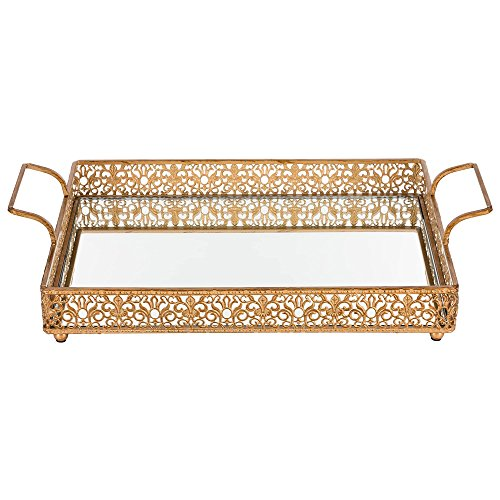 Victoria Vintage Gold Mirror Serving Tray Small, Rectangular Metal Vanity Food Decorative Display Platter with Wine Bottle Holder (Gold)