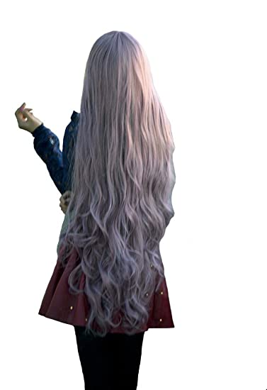 Amazon Com S Ssoy 39 Silver Grey Fashion Wig Long Wavy Curly Hair