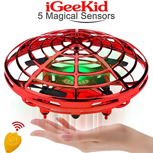 Kids Mini Drones Hand Operated Flying Toy Holiday Toy for Boys Age 3-14 Infrared Induction Helicopter Flying Ball with 360° Rotating and LED Lights Outdoor Sports Toy Kids Christmas Gift-Red (Blue Thunder Rc Helicopter)