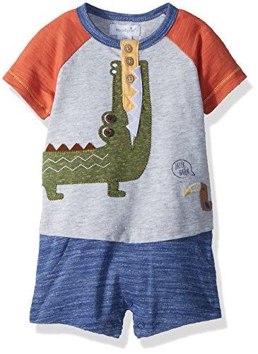 Mud Pie Baby Boys Alligator Safari Short Sleeve Raglan One Piece Playwear Set