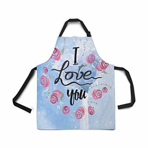 Waterfall Dolphin (InterestPrint Adjustable Bib Apron for Women Men Girls Chef with Pockets, Ocean Dolphin Waterfall Flowing Sea I Love You Rose Novelty Kitchen Apron for Cooking Baking Gardening Pet Grooming Cleaning)