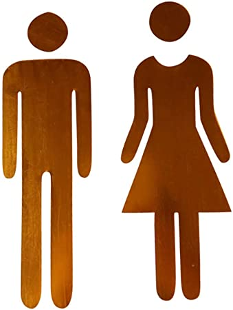 YWLINK Etiqueta De Espejo 3D Divertido WC Puerta De Inodoro SeñAl De Entrada Hombres Mujeres BañO Pared DIY: Amazon.es: Hogar