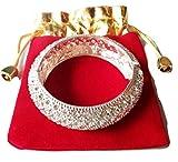 PunPund Bracelet silver plated carve white stone clarify jewelry bangle fashion women