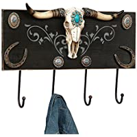 Turquoise Steer Head Southwestern Wall Hook Rack - Western Decor