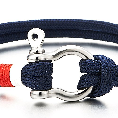 Mens Womens Steel Screw Anchor Shackles Nautical Sailor Navy Blue Rope Cord Wrap Bracelet Wristband Photo #3