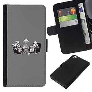 JackGot ( Vintage Tea Party Banksy Retro ) HTC Desire 820 la tarjeta de Crédito Slots PU Funda de cuero Monedero caso cubierta de piel