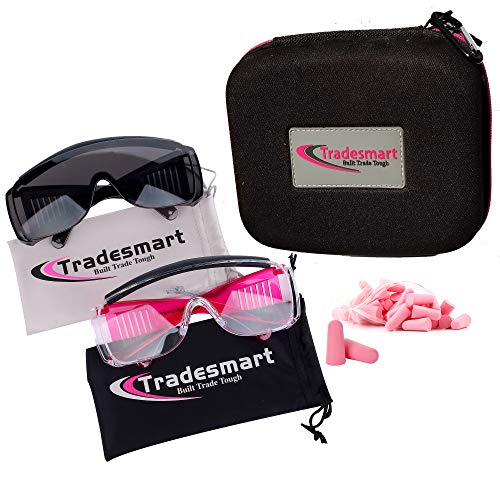 TRADESMART Over-Prescription Safety Glasses & Case - Shooting Ear Plug & Eye Protection for The Gun Range with Hard Case, - UV400 Anti-Fog and Anti-Scratch Indoor & Outdoor Glasses - NRR 33 (Pink)