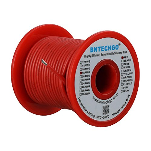 - BNTECHGO 18 Gauge Silicone Wire Spool Red 100 feet Ultra Flexible High Temp 200 deg C 600V 18 AWG Silicone Rubber Wire 150 Strands of Tinned Copper Wire Stranded Wire for Model Battery Low Impedance