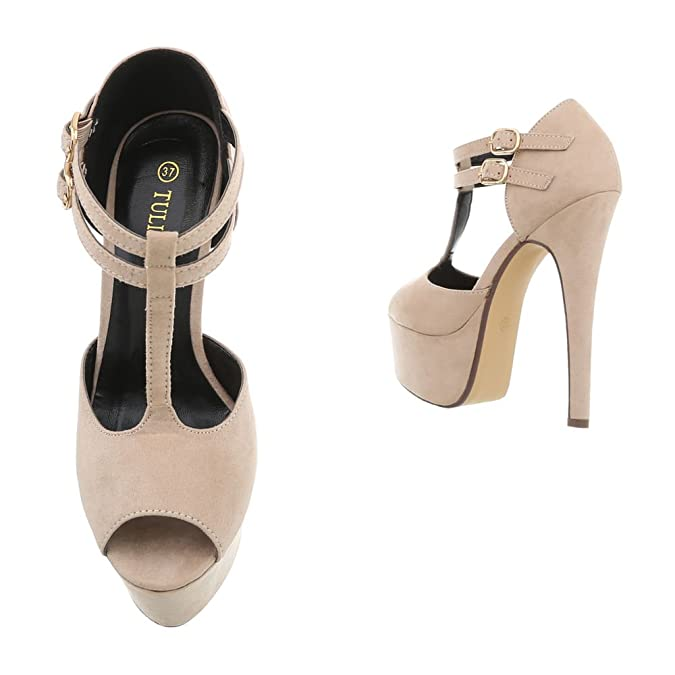 Ital-Design High Heel Sandaletten Damen-Schuhe Pfennig-/Stilettoabsatz Heels Schnalle Sandalen & Beige, Gr 38, K1L3591-37-