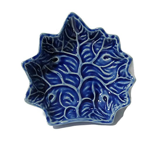 (Ceramic Grape Leaf Plates From Thailand-Sushi Plate Dishes Wasabi Bowl by)