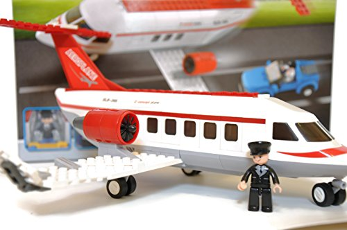 Jet Privato Lego City : Airport city aviation private jet airplane with helicopter