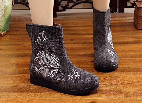 AvaCostume Womens Flower Embroidery Slip-ons Flats Boots Dark Grey 4yUUD