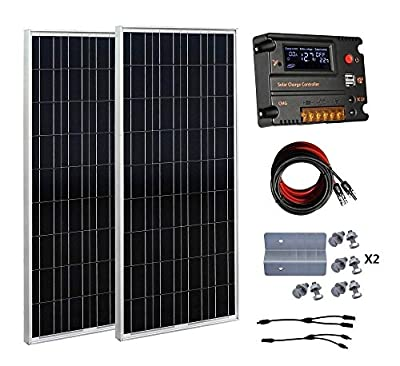 ECO-WORTHY 200 Watt (2pcs 100 Watt) 12V Solar Panel Kit + 20A Battery Charge Controller for 12 Volt Off Grid Battery System