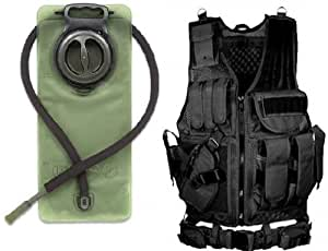 Ultimate Arms Gear Lefty Stealth Black Tactical Scenario Military-Hunting Assault Vest w/ Left Handed Quick Draw Pistol Holster and Heavy Duty Mag Pouch Belt + OD Olive Drab Green 2.5 Liter / 84 oz. Replacement Hydration Backpack Water Bladder Reservoir - Includes Hosing And Hands Free Bite Valve