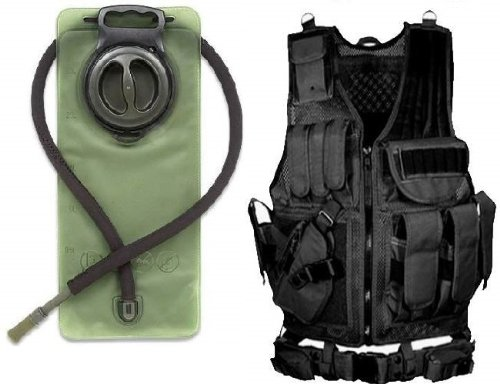 Ultimate Arms Gear Black Lightweight Tactical Hunting Vest w/ LEFTY LEFT Handed Pistol Holster + 2.5 Liter Hydration Backpack Water Bladder Reservoir Hosing And Hands Free Bite Valve - Leapers Special Operations