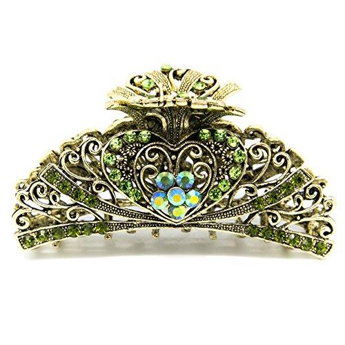 Beautyxyz Womans new heart design XLarge 4 inch metal rhinestones hair clip claws (green)