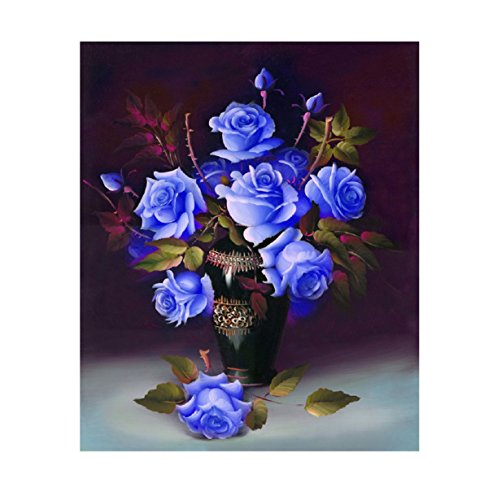 China Block Garden Rose (Embroidery,5D Full Drilled Diy Diamond Painting Cross Stitch Square Diamond Embroid (Blue))