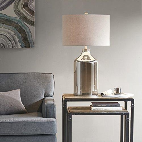 (Colby Metal Glass Lamp , Transitional Plug Grey Desk Light , 17