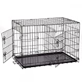 New Extra Large 48'' Folding Pet Dog Cat Crate Cage Kennel With Plastic Tray W/Divider