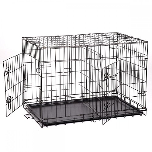 New Extra Large 48' Folding Pet Dog Cat Crate Cage Kennel With Plastic Tray W/Divider