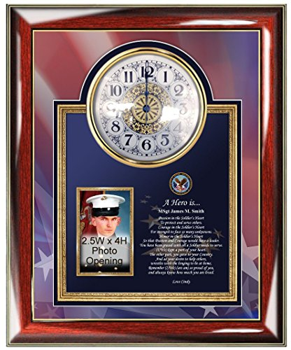 Plaque Award Tabletop (Military Picture Frame Clock Personalized Retirement Promotion Recognition Award Photo Plaque Poem Army Navy Air Force Marine Corps Going Away Homecoming USMC USAF Soldier Service USCG)