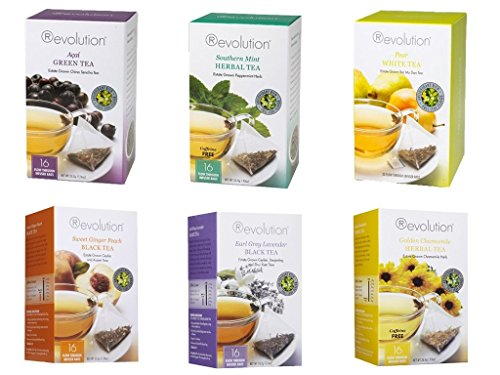 Revolution Tea Variety Bundle 6 pack Earl Grey Lavender, Sweet Ginger Peach, Acai Green Tea, Golden Chamomile, Southern Mint, and White (Revolution Mint)