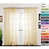 "NIM Textile Elegant Sheer Voile Curtains Panels, Rod Pocket Top, 110""W x 84""L, 2 Panels Set, Peach, Love Inn Collection"
