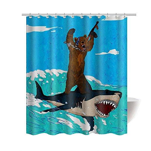 Hot Sale Gwein Funny Bear Riding Shark Children Like It Home Decor Shower Curtain Polyester Fabric