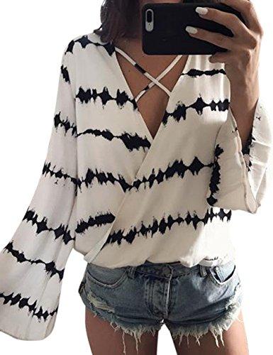 Camisa casual para mujeres, atractiva con cuello en V blusa patrón de onda, camiseta suelta