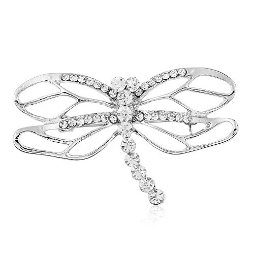 Winter's Secret Diamond Accented White Hollow out the Dragonfly Crystal Animal Pattern Brooch Pin