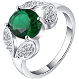18kt white Gold filled emerald green topaz CZ Wedding Engagement Ring Size 7-10 LOVE STORY (9)