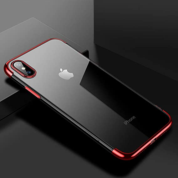 competitive price 1f934 0fba0 Cafele soft TPU case for iPhone X cases ultra thin transparent plating  shining case for iPhone X Mixed silicon cover (Red)