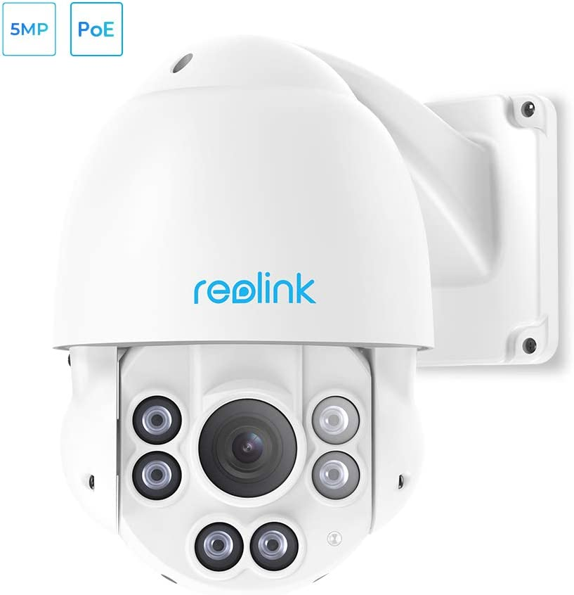 Night Vision Motion Detection IP Video Surveillance REOLINK PTZ Camera 5-Megapixels 360/° Pan 90/° Tilt 4X Optical Zoom PoE Outdoor Security Work with Google Assistant