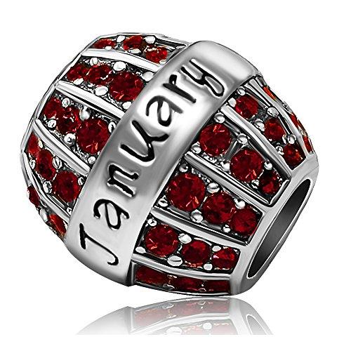 JMQJewelry Birthday Birthstone January Gift New Red Charms Crystal Rhinestone Spacer Beads Charm For Bracelets