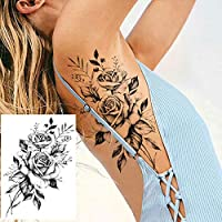 COKTAK 6 Hojas Tatuajes Temporales Realistas de la Gran Flor Rosa ...