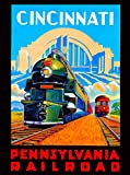 Cincinnati Ohio Pennsylvania Vintage Railroad Train Locomotive United States of America Travel Advertisement Art Poster