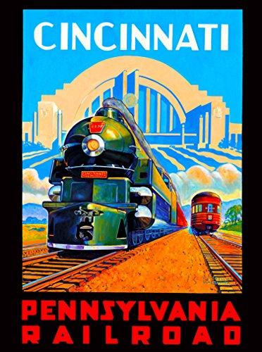 A SLICE IN TIME Cincinnati Ohio Pennsylvania Vintage Railroad Locomotive United States Travel Advertisement Art Wall Decor Poster Print. 10 x 13.5 inches