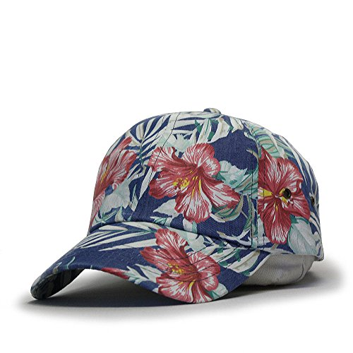 Premium Floral Hawaiian Cotton Twill Adjustable Snapback Baseball Caps (Floral Blue) ()