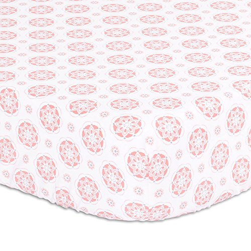 Coral Pink Starstruck Floral Medallion Baby Girl Fitted Crib (Crib Medallion)