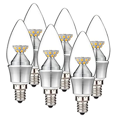 KINDEEP 6-Pack E12 Candelabra LED Bulb 40W Equivalent, Not Dimmable Candle Shape, Soft Warm White 2700K