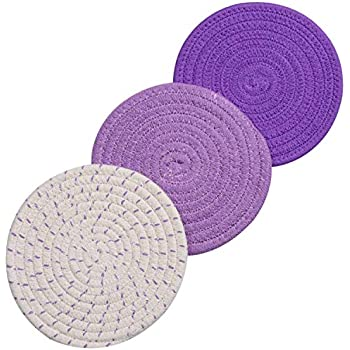 Lifaith 100% Cotton Thread Weave Pot Holders, Hot Pads, Pot Holders, Spoon Rest, Jar Opener & Coasters, for Cooking and Baking, Diameter 7 Inches, Round, Set of 3, Purple Set