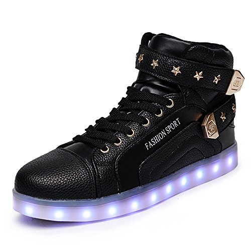 New Black Women Men High Top 7 Color Light Up USB Charging LED Shoes Flashing Sneakers 36